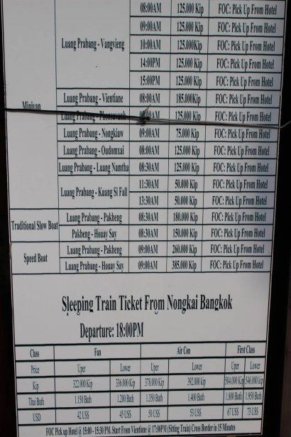 bus time table luang prabang
