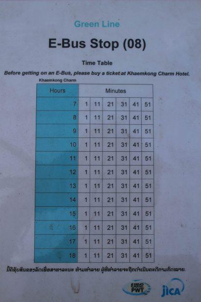 E-bus time table