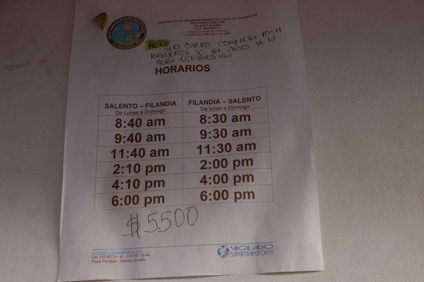 horaires de bus Filandia Salento